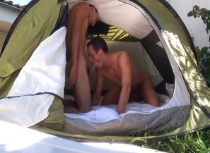boinking outside in a tent
